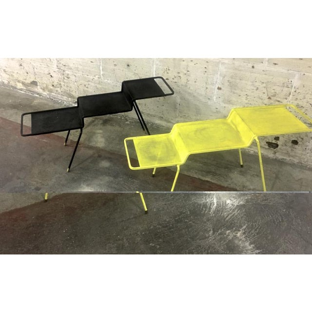 Iron Mathieu Mategot Coffee Table in Yellow Painted Iron and Rigitule For Sale - Image 7 of 8