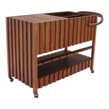 Image of Mid-Century Modern Solid Oiled Walnut Bar Serving Cart For Sale
