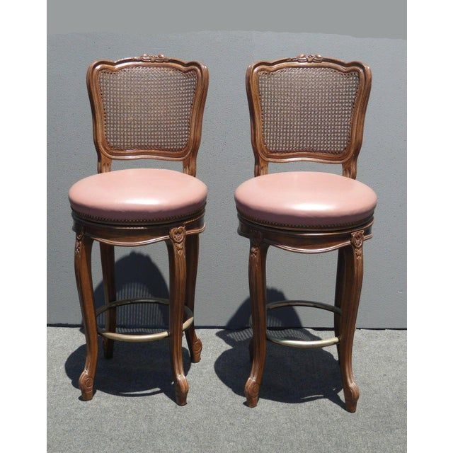 Vintage French Provincial Leather & Cane Bar Stools - A Pair - Image 4 of 11