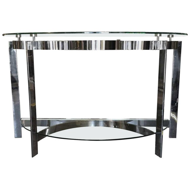 Contemporary Modern Two-Tier Demilune Console For Sale In Los Angeles - Image 6 of 6
