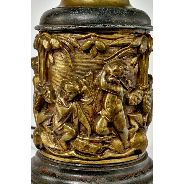 Brass 1930's Brass Table Lamp With a Cherub's in the Forest Tableau For Sale - Image 8 of 13