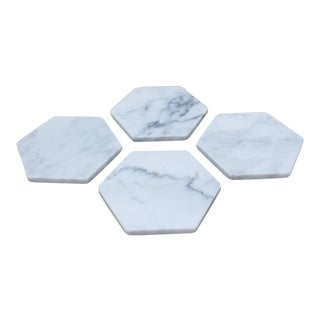 Italian Hexagon White Marble Coasters - Set of 4