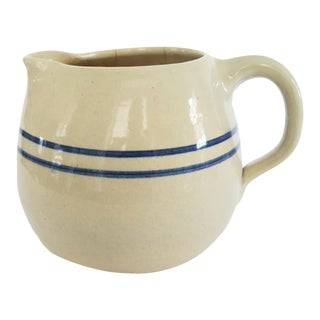 Vintage Small Blue White Striped Stoneware Pottery Crock Pitcher