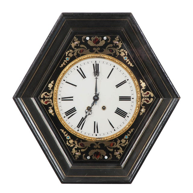 Black 19th Century French Boulle-Inlaid Hexagonal Wall Clock For Sale - Image 8 of 8