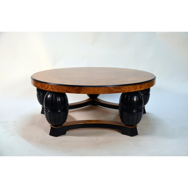 Black Large Swedish Art Deco Coffee Table in Carpathian Elm and Ebonized Birch For Sale - Image 8 of 8