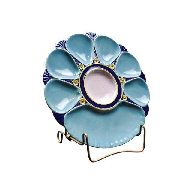 Victorian Minton Majolica Oyster Plate For Sale - Image 3 of 11