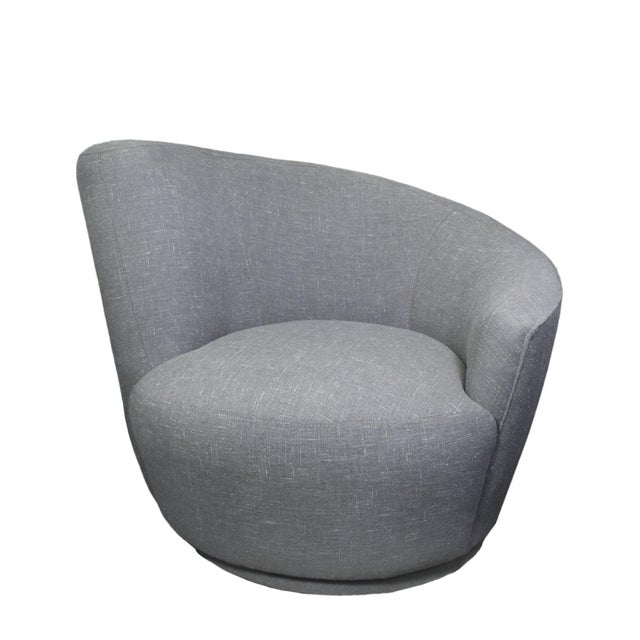 "Newly upholstered in grey linen tweed and new foam, an original ""Nautilus"" swivel chair."