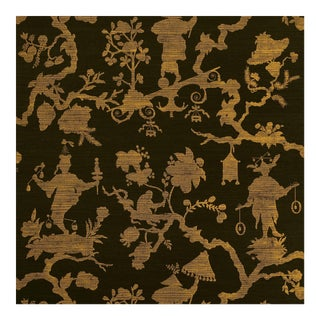 Sample - Schumacher Shantung Silhouette Sisal Wallpaper in Gold on Jet For Sale