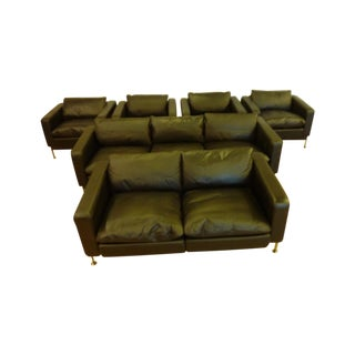 DeSede Sofa, Loveseat & 4 Matching Chairs by Charles Stendig, Matching