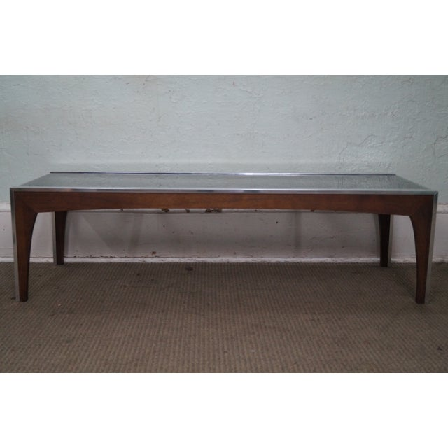 Mid Century Modern Chrome & Walnut Smoked Glass Coffee Table For Sale - Image 4 of 10