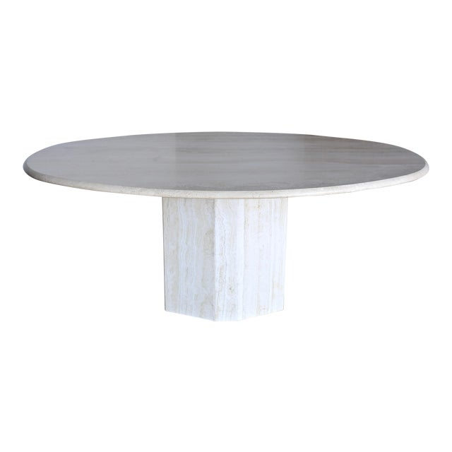 Travertine Oval Dining Table Circa 1980 For Sale