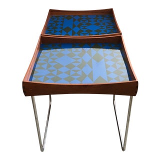 1960s Vintage Hermann Bongard for Plus-Linje Norwegian Enamel Tray Tables - A Pair