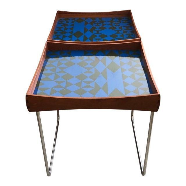 1960s Vintage Hermann Bongard for Plus-Linje Norwegian Enamel Tray Tables - A Pair For Sale