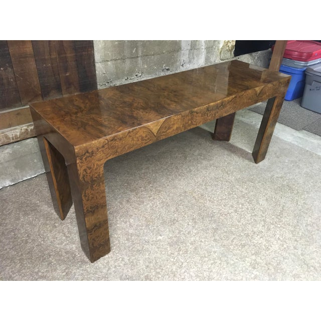 1970s Burlwood Console Table For Sale - Image 11 of 11