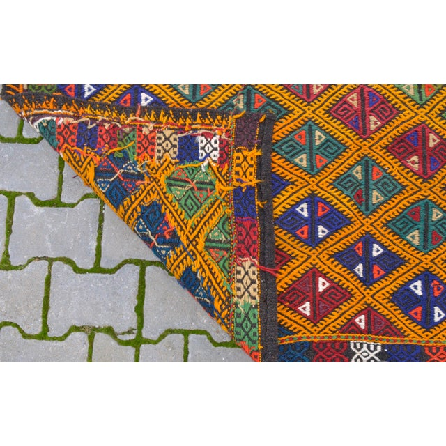 Handwoven Turkish Kilim Rug. Traditional Oushak Area Rug Braided Kilim - 5′6″ X 8′6″ For Sale - Image 9 of 10