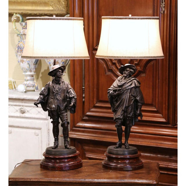 Decorate an office or entry way with this elegant pair of antique lamps. Crafted in France circa 1870, each lamp base...