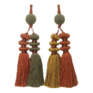 Chinoiserie FourTassel Paprika / Copper / Green Tieback For Sale