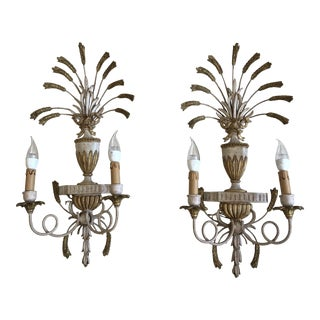 Vintage Mid 20th Century Wooden Wheat Sconces - a Pair For Sale