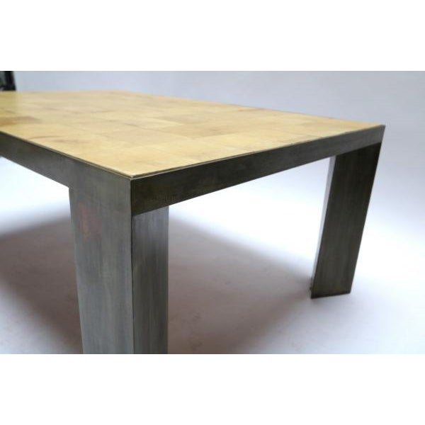 Parchment and Metal Coffee Table For Sale - Image 4 of 6
