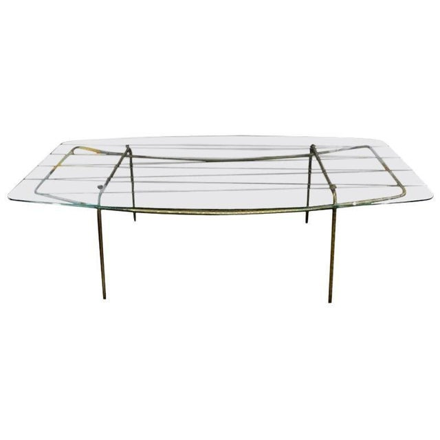 Italian Gio Ponti Inspired Brass and Glass Coffee Table For Sale - Image 12 of 13