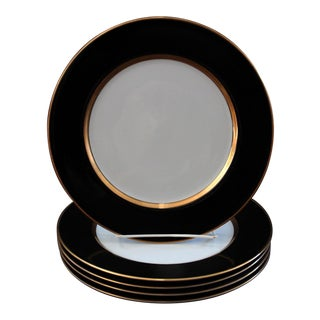 Vintage Renaissance Black on White Dinner Plates by Fitz & Floyd - Set of Five For Sale