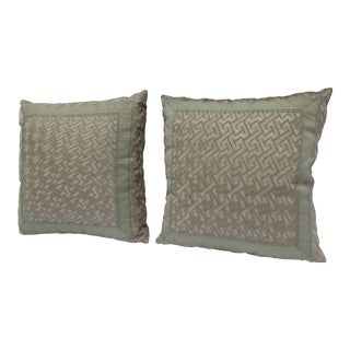 "Silk ""Greek Key"" Down Pillows in Beige/Taupe With Light Green Embroidered Trim - a Pair For Sale"