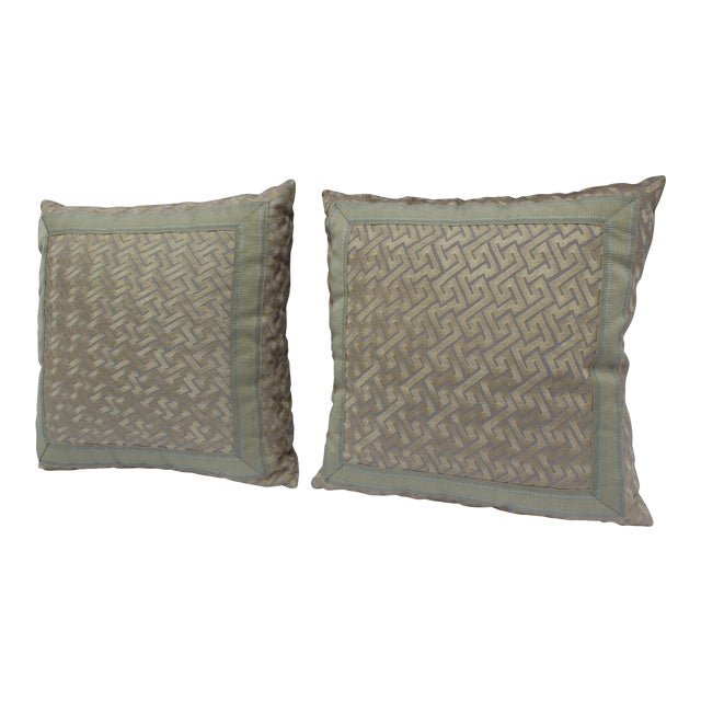 """Silk """"Greek Key"""" Down Pillows in Beige/Taupe With Light Green Embroidered Trim - a Pair For Sale"""