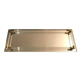 Mid 19th Century Mirrored Vanity Tray With Lucite and Brass For Sale