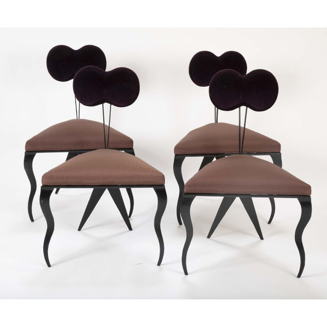 """A set of four Joaquin Gasgonia Palencia ( Philippines, 1959 - ) steel frame chairs with upholstered """"V"""" shaped seat and..."""