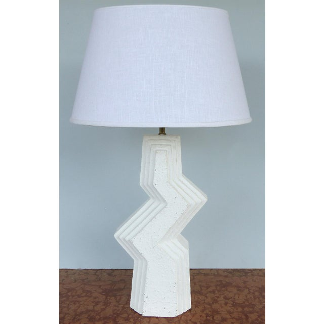 1970s Mid-Century Modern Geometric Plaster Table Lamps-A Pair For Sale - Image 5 of 13