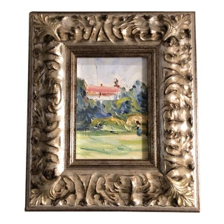 Original Vintage Impressionist Landscape Painting Ornate Frame For Sale
