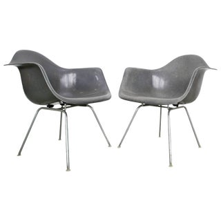 Pair of Elephant Grey Eames Armchairs For Sale