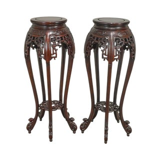 Chinese Rosewood Pair of Carved Pedestals For Sale