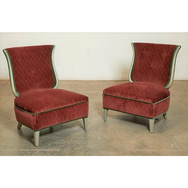 Art Deco Art Deco Grosfeld House Hollywood Regency Red Velvet Slipper Chairs For Sale - Image 3 of 3