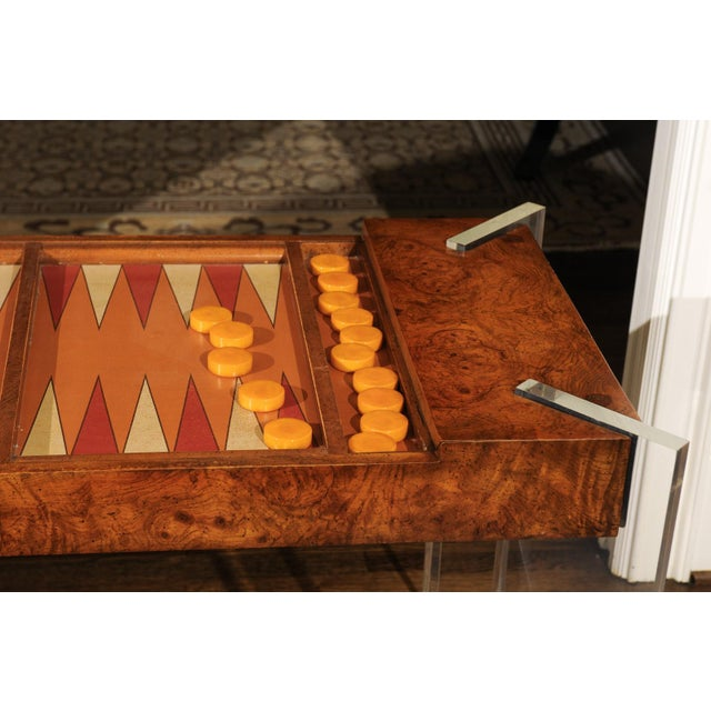 Vladimir Kagan Superb Bookmatch Olivewood Console, Game Table and Writing Desk, Circa 1975 For Sale - Image 4 of 13