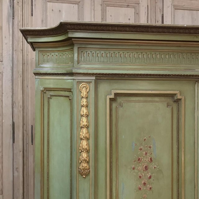 Glass Antique Italian Neoclassical Painted Armoire For Sale - Image 7 of 13