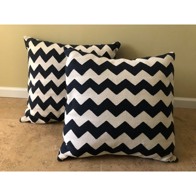 Madeline Weinrib Black Chevron Block Print Pillows - A Pair For Sale - Image 10 of 10