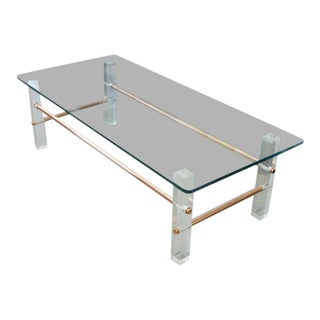 Custom Copper & Glass Coffee Table With Lucite Block Legs For Sale