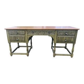 Boho Chic Carved Wood Stately Desk For Sale