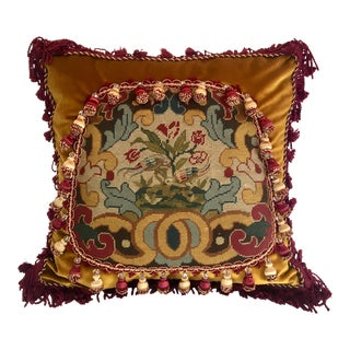 1900 - 1920 Striking Needlepoint Tapestry Chippendale Bird Pillow
