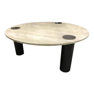 Italian Travertine Coffee Table or Center Table With Chrome Pillars For Sale