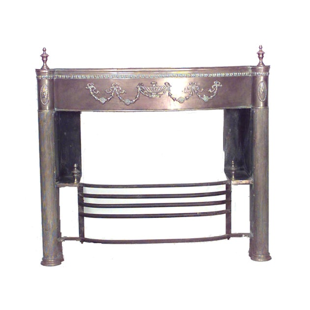 English Adam style '19th century' brass fireplace mantel with urns and applied brass festoon design with iron fender front.