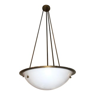 Art Deco Oversized Brass Bowl Pendant Light For Sale
