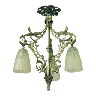 1920s Art Nouveau-Inspired Ca French 3 Donna Shades Flush-Mount Chandelier
