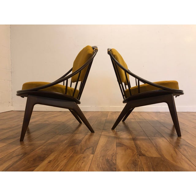 1950s Ib Kofod Larsen for Selig Mid-Century Peacock Lounge Chairs - a Pair For Sale - Image 5 of 13