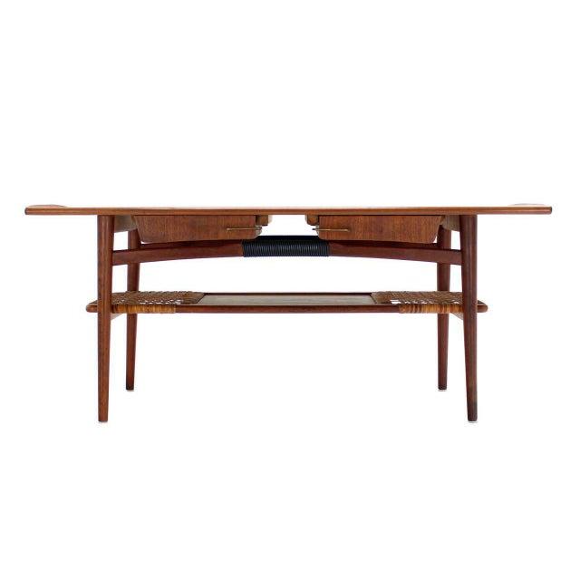 Teak Storage Coffee Table: Fine Danish Modern Teak Coffee Table Cane Shelf Rolled