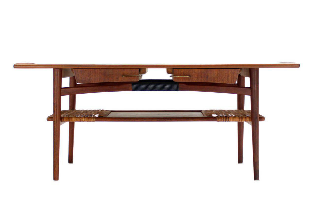 Danish Modern Teak Coffee Table Cane Shelf Rolled Edges 4 Storage Drawers    Image 8 Of