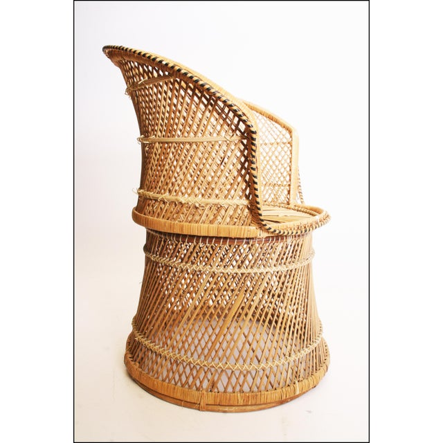 Wicker Vintage Boho Chic Wicker Barrel Chair For Sale - Image 7 of 11