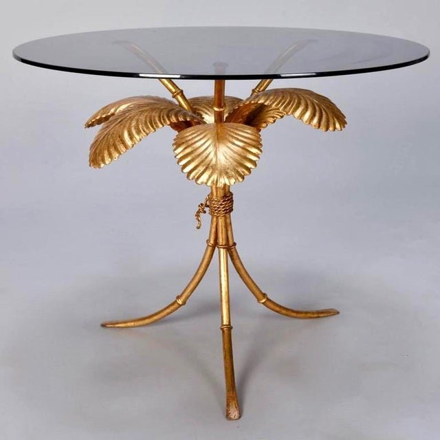 Italian Gilt Metal Palm Leaf Side Table with Smoked Glass Top For Sale - Image 4 of 7