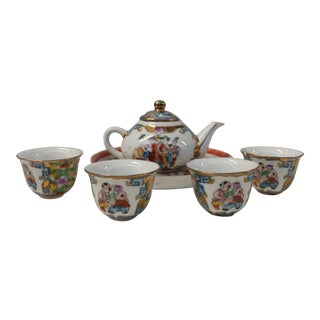 Chinese Famille Rose Style Tea Set - 6 Piece Set For Sale